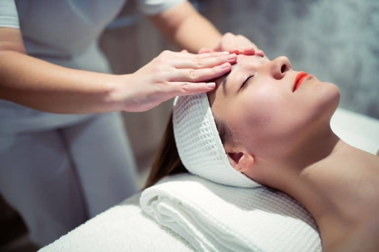 Facial massage treatment by professional